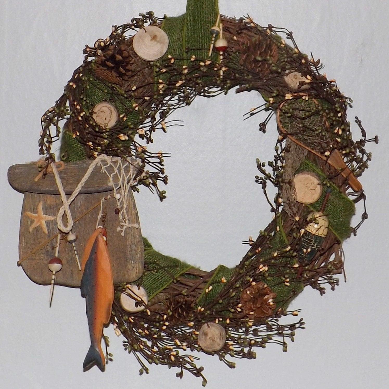 Man Cave Fishing Decor : Fishing man cave cabin decor christmas wreath