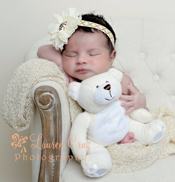 Pretty Ivory Flower with a Gold Center on a Gold and Ivory Soft Stretch Elastic Headband or Clip by Lil Miss Sweet Pea