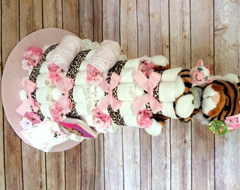 Baby Girl 4 tier Diaper cake - an adorable baby shower gift - made to order