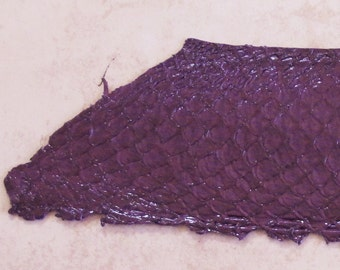 """Fish Leather in Plum Purple for Bead Embroidery Tilapia Leather 10x3"""" One fish side"""