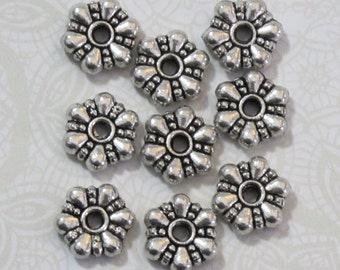 10mm Spacer Beads Antiqued Silver Pewter Floral Spacer Beads 20pcs Daisy Spacers