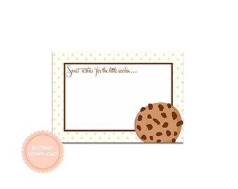 INSTANT DOWNLOAD, Milk & COOKIES Fill-in Notes to Baby, Wishes to Baby, Baby Shower Activity