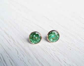 Medium Green Glitter Rose Gold Stud Earrings