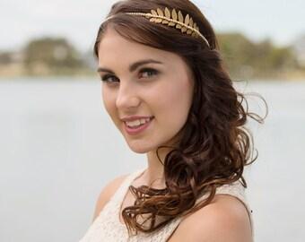 Sample sale Grecian gold-tone brass leaf headband with rhinestones