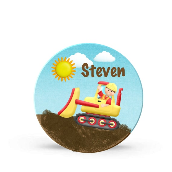 Kids Personalized Construction Bulldozer Digger Plate