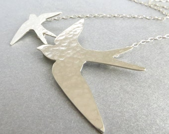 Sterling Silver Swallow Necklace, Silver Bird Necklace,  Two Flying Swallows, Hallmarked Jewellery, Textured Silver Jewelry, UK Seller