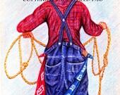 RODEO CLOWN ,5x7 Print,Cowboy roper,southwestern art,red,blue,plaid  On Sale