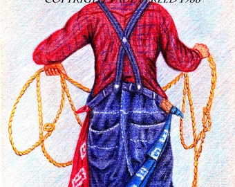 RODEO CLOWN ,5x7 Print,Cowboy roper,southwestern art,red,blue,plaid  On Sale