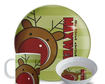 Childrens Christmas Plate Set, First Christmas Plate, Personalized Reindeer Melamine Dish, Holiday Melamine Plate Set