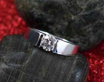 Forever One Moissanite Engagement Ring .80ct 6mm Modernisme Petite ModernTension Set Custom White-Yellow-Rose Gold-10k-14k-18k-Platinum