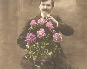 Antique French Photo Postcard Handsome Edwardian Man with Pink Flowers Post Card from Vintage Paper Attic