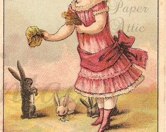 Victorian Girl with Rabbits Antique Chromo Trade Card from Vintage Paper Attic