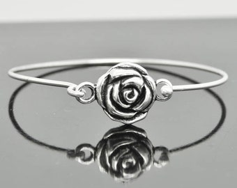 Rose Bangle, Sterling Silver Bangle, Rose Bracelet, Stackable Bangle, Charm Bangle, Bridesmaid Bangle, Bridesmaid jewelry, Bridal Bracelet