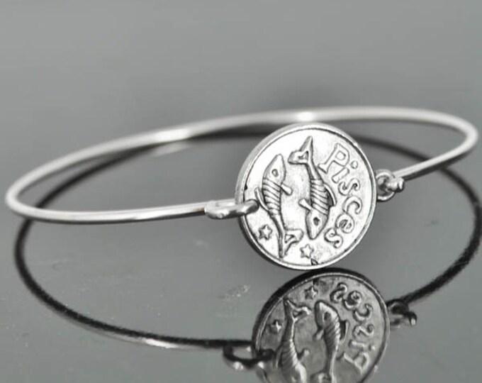 Zodiac Bangle, Sterling Silver Bangle, Zodiac Bracelet, Stackable Bangle, Bridesmaid Bangle, Bridesmaid jewelry, Bridal Bracelet, Pisces