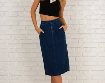 Vintage 80s 90s Blue Jean denim Skirt High Waist Pleated pencil Small S 3262
