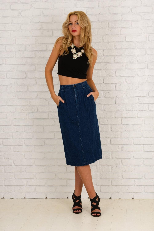 vintage 80s 90s blue jean denim skirt high waist pleated