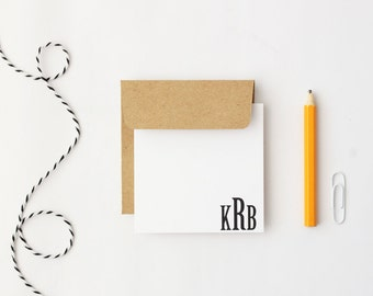 Monogram Cards Small Gift Enclosure Cards Stationery for Men Personalized Mini Gift Tags Black and White Kraft Enclosure Cards / Set of 24