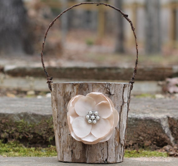 Rustic Flower Girl Basket Bark Vintage Inspired