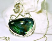 REDUCED- Labradorite & Sterling Silver Statement Necklace, Artisan Lapidary and Silver smith, unisex gift idea