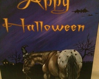 Happy Halloween-Appaloosa Horse-Witch-Decor-Wall Hanging-Barn Sign-Pumpkin-Hand Painted-Wood-Original Folk Art-Painting-Picture-Bats-OOAK