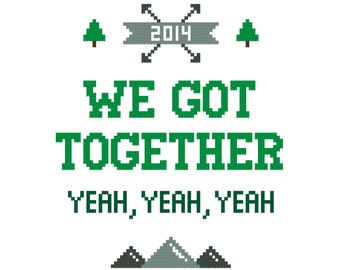 We Got Together PATTERN | Personalized cross stitch | Contemporary