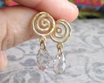 Gold and Swarovski drop dangle post earrings , Gold swirl earrings , Long gold studs , Handmade by Adi Yesod