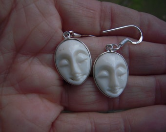 Balinese Princess Hand Cared Face Earrings That Are Set In Sterling Silver Palladium....ON SALE