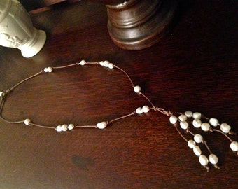 Long Freshwater Pearl and Leather Cluster Necklace
