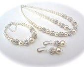 Pearl jewelry set ~ Swarovski pearl and rhinestone set ~ 3 pieces ~ Backdrop Necklace,Bracelet and Earrings set ~ Brides Jewelry set~DESTINY