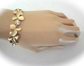 Gold Orchid bracelet - Destination Wedding jewelry - Brides bracelet ~ Beach wedding jewelry ~ Cascading gold orchids ~ Elegant ~ HOPE