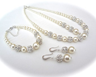 Pearl jewelry set ~ Swarovski pearl and rhinestone set ~ 3 pieces ~ Backdrop Necklace,Bracelet and Earrings set ~ Brides Jewelry set~DESTINY