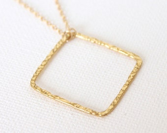 Gold Square Necklace - 18k Gold Hammered Square Pendant Charm Necklace