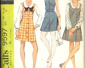 Vintage 1960's Juniors Dress or Jumper Pattern, McCalls 9597 Sewing Pattern, Size 11/12