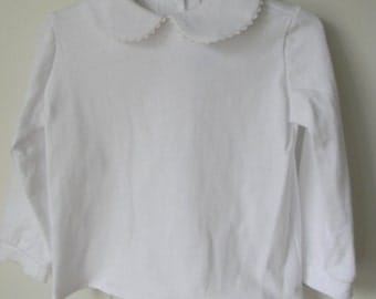 Girl White KNIT Peter Pan Collar Long Sleeve Blouse Shirt