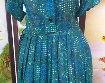 SALE Vintage 1950's Jack Mann Original Designer Dress Celestial Novelty Print Moons and Suns