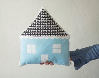 House Shaped Cushion - Blue