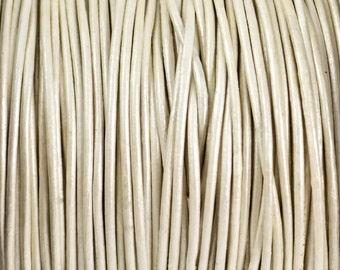2mm Metallic Pearl White Leather Round Cord