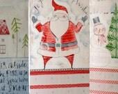 Winter Wonderland Fabric Advent Calendar - Christmas Countdown Calendar, Red White, Santa Snowman Little House, Let It Snow, White Christmas