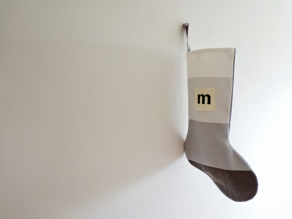 Personalized Christmas Stocking Personalized, Modern Striped Colorblock Personalized Stocking Monogram Color Block Girl Boy Wonderland Grey