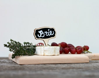 New Years Eve Party Food Marker, Mini Chalkboard Sign, 4 Reusable Signs, Wedding Sign, House Warming Gift Wine & Cheese, Made in the USA