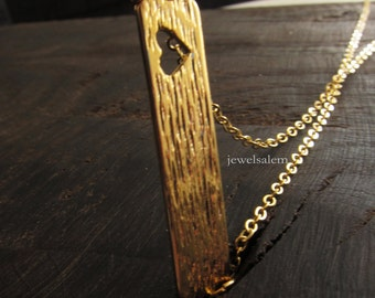 Gold Bar Necklace Heart Shape Thin Long Small Stick Rectangle Modern Rustic Casual Simple Every Day Layered Layering Necklace C1