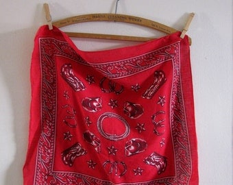 red western bandana with cowboy hats, horseshoes and boots! Vintage 70s 80s
