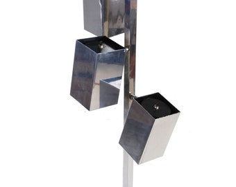 Koch & Lowy Chrome Adjustable Cubist Floor Lamp