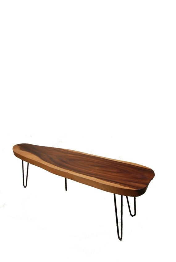 Mid Century Monkey Pod Slab Surfboard Coffee Table with Hairpin Legs