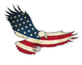 American Flag Eagle Car Decal Sticker: Patriotic USA Bumper Sticker Laptop Decal America Stars Stripes Red White Blue Grunge Men Eagle