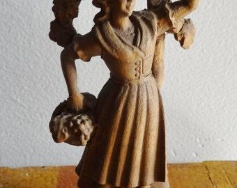 Small Wood Carved Bavarian Maiden Harvesting Grapes