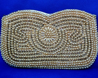 vintage change purse Pearl beaded small clutch 1950s sparkling mini clutch bag hand made in Japan