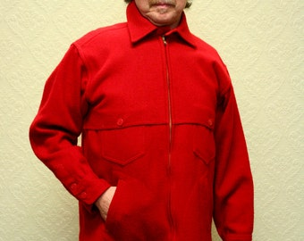 vintage LL Bean red wool hunting jacket 1980s Mackinaw Christmas gift Holiday Gift Size M or L
