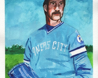 "Dennis Leonard. Kansas City Royals. Watercolor and Gouache on Paper. 9"" x 12"""