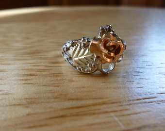 Sterling Silver Copper Colored Flower with Gold Colored Leaf